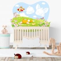 Vinilos infantiles o de bebé zorro y pollito en el campo