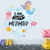 Vinilos decorativos frase en inglés i am cute mermaid