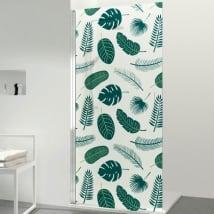 Vinilos para mamparas de baños hojas tropicales
