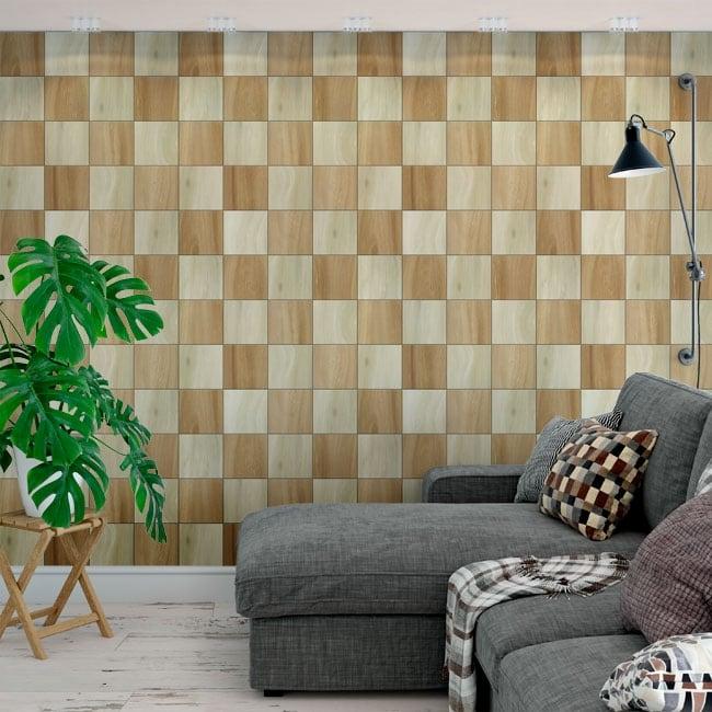 Fotomurales de vinilos cuadrados de madera