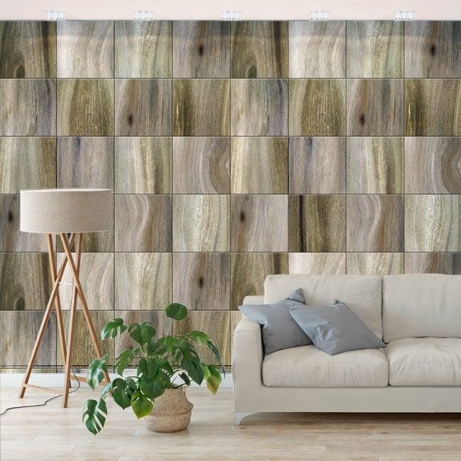 Fotomurales de vinilos cuadrados con efecto madera