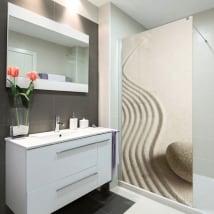 Vinilos mamparas de baños piedra zen