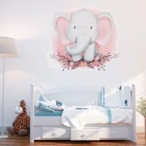 Vinilos y pegatinas elefante con flores para bebés