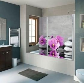 Vinilos mamparas de baños flores y piedras zen