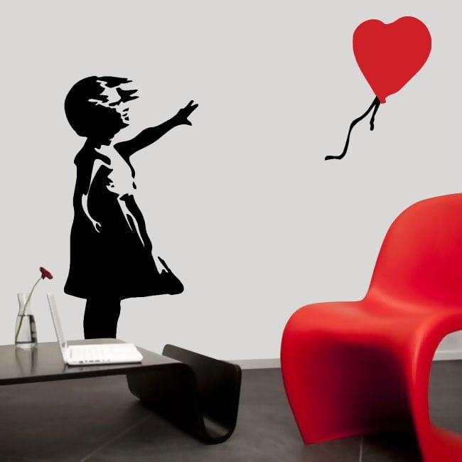 Vinilos decorativos banksy niña con globo
