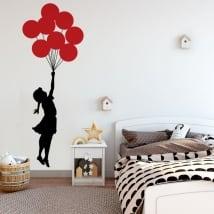 Vinilos decorativos y pegatinas banksy niña con globos
