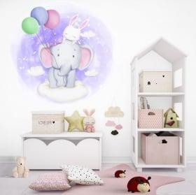 Vinilos y pegatinas infantiles elefante y conejo en las nubes