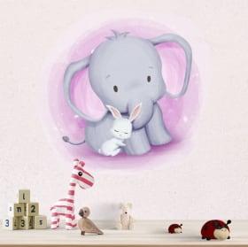Vinilos y pegatinas infantiles o de bebé elefante y conejo