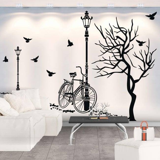 Vinilo Decorativo Otoño En Bicicleta
