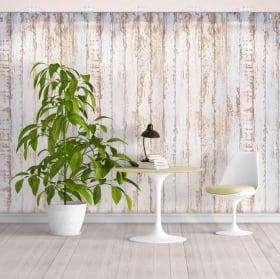 Fotomurales de vinilos con efecto madera blanca rústica
