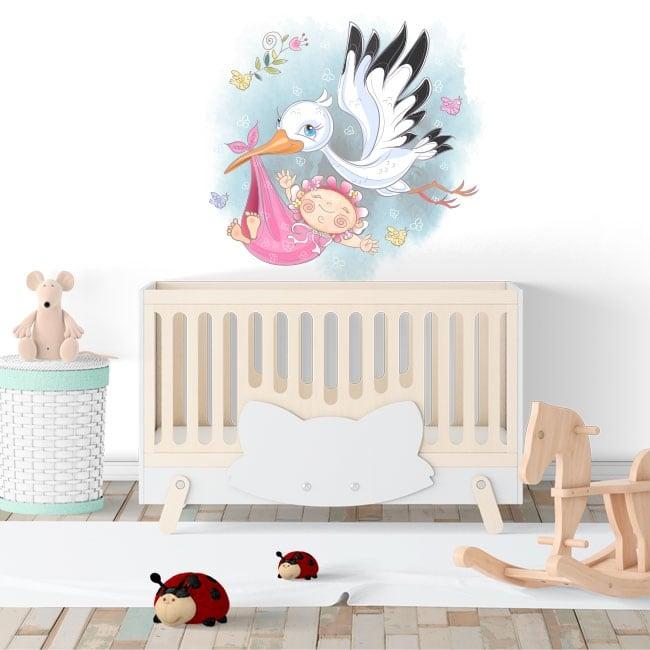 Vinilos decorativos niña y cigüeña para bebés