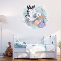 Vinilos decorativos niños cigüeña para bebés