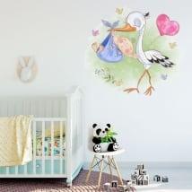 Vinilos decorativos para bebés cigüeña y niño
