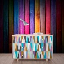 Fotomurales imitación madera multicolor