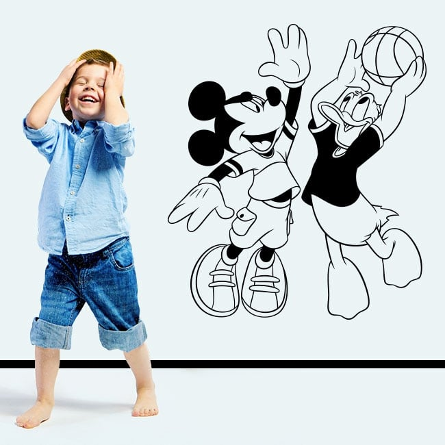 Vinilos mickey mouse y pato donald jugando baloncesto