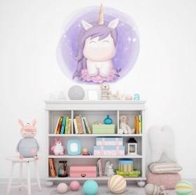 Vinilos infantiles o de bebé unicornio con flores