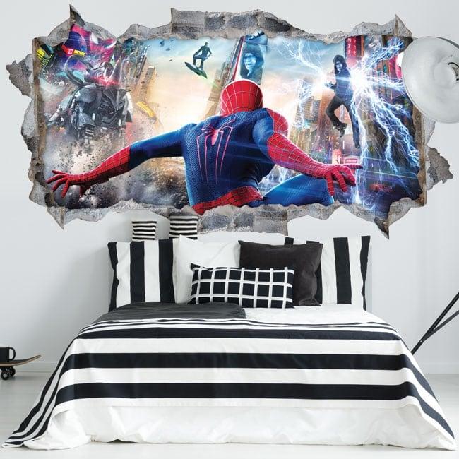 Vinilos paredes spiderman 3d