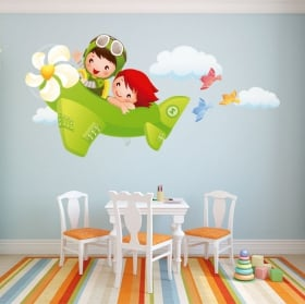 Vinilos decorativos infantiles niños y avión