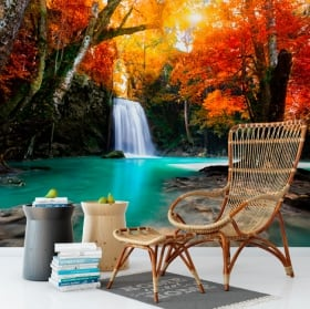 Fotomurales de vinilos cascada y árboles en otoño