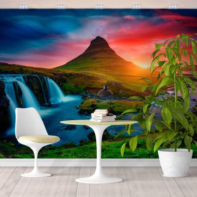 Fotomurales islandia atardecer cascadas y montaña kirkjufell