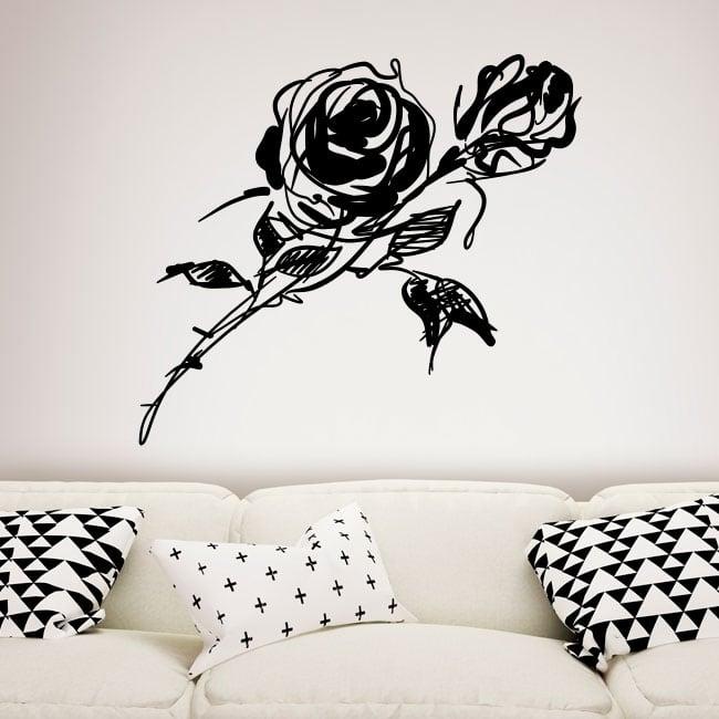 Vinilos decorativos y pegatinas con rosas