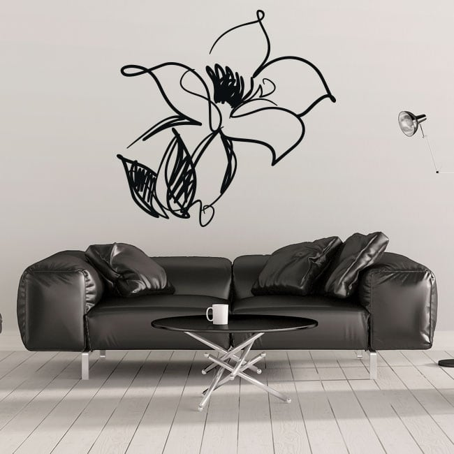 Vinilos decorativos y pegatinas flor de trazos