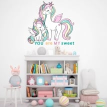 Vinilos y pegatinas infantiles o juveniles unicornios