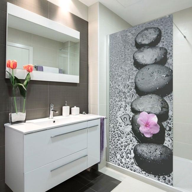 Vinilos decorativos mamparas de baños piedra zen