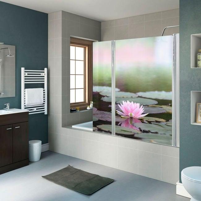 Vinilos mamparas de baños flor de loto
