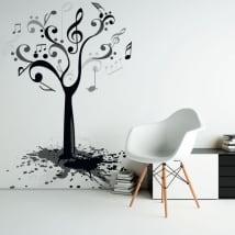 Vinilos y pegatinas árbol con notas de música