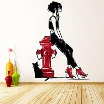 Vinilos decorativos y pegatinas mujer con gato