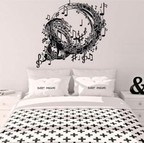 Vinilos decorativos espiral con notas de música