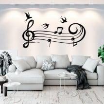 Vinilos y pegatinas pentagrama de música y golondrinas