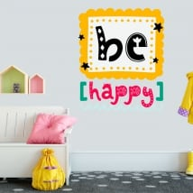 Vinilos decorativos y pegatinas frase be happy