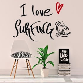 Vinilos decorativos frases i love surfing
