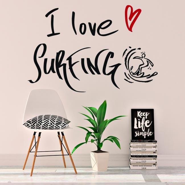 Vinilos decorativos frases i love surfing