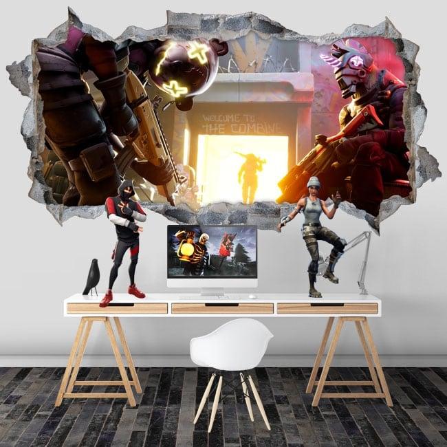 Vinilos agujero pared 3d videojuego fortnite