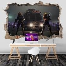 Vinilos agujero pared videojuego fortnite 3d