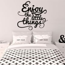Vinilo decorativo frase inglés enjoy the little things