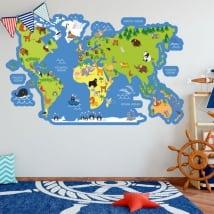 Vinilos y pegatinas infantiles mapamundi con animales