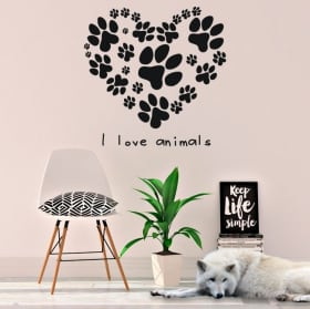 Vinilos y pegatinas frase i love animals