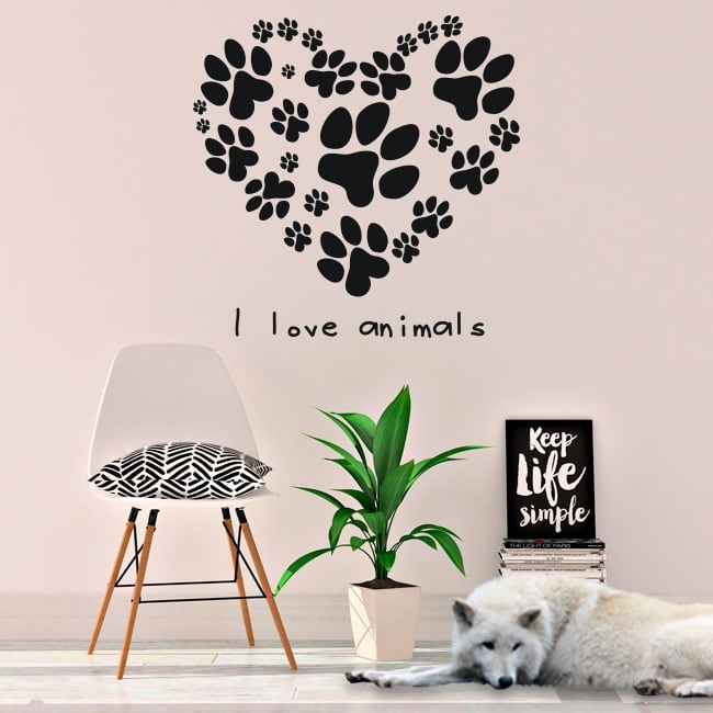 Vinilos y pegatinas frase i love animals