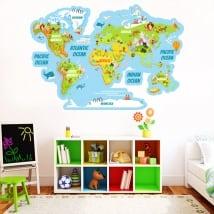 Pegatinas de vinilos mapamundi con animales