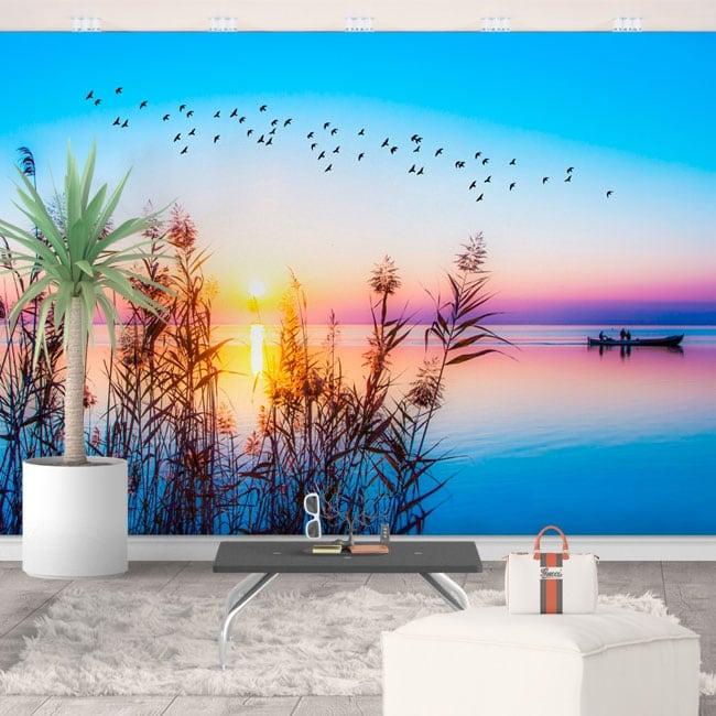 Fotomurales de vinilos amanecer en el lago