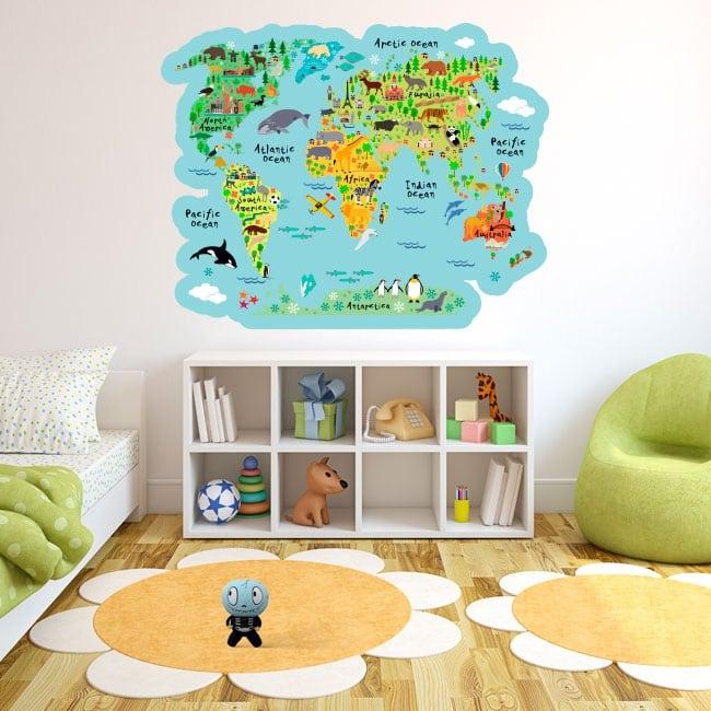 Vinilos y pegatinas mapamundi con animales infantiles