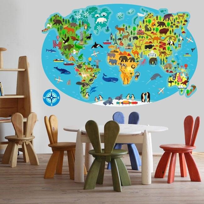 Vinilos y pegatinas mapamundi animales