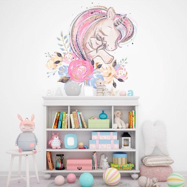 Vinilos infantiles o de bebé amor de unicornios