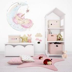 Vinilos infantiles o juveniles unicornio en la luna