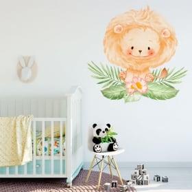 Vinilos y pegatinas para bebés león con flores