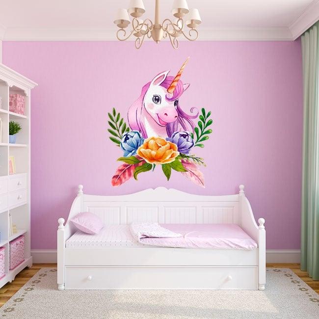 Vinilos y pegatinas infantiles unicornio acuarela